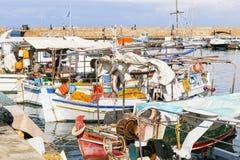 Barcos de pesca em Chania Fotografia de Stock Royalty Free
