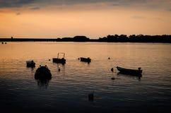 Barcos de pesca em Danúbio foto de stock