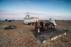 Barcos de pesca em Dungeness fotografia de stock