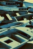 Barcos de pesca empilados Imagen de archivo libre de regalías