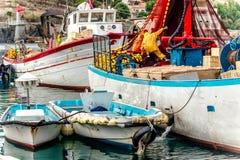 Barcos de pesca en el puerto Vendres, Francia meridional Fotografía de archivo libre de regalías