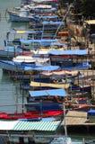 Barcos de pesca en el río cubano Fotografía de archivo