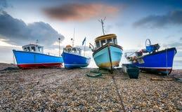 Barcos de pesca en la cerveza en Devon Imagenes de archivo