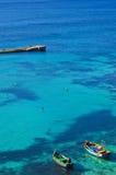 Barcos de pesca en la laguna, Malta Imágenes de archivo libres de regalías
