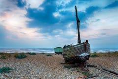 Barcos de pesca en la salida del sol Fotos de archivo libres de regalías