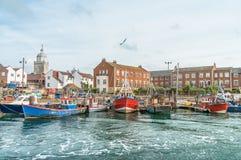 Barcos de pesca en Portsmouth Imágenes de archivo libres de regalías
