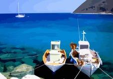 Barcos de pesca griegos ilustrados Foto de archivo libre de regalías