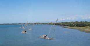 Barcos de pesca netos Fotografía de archivo