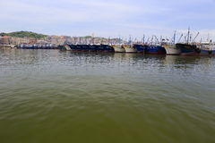 Barcos de pesca no cais do wuyu Fotos de Stock Royalty Free