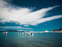 Barcos de pesca no mar Ionian Imagem de Stock Royalty Free