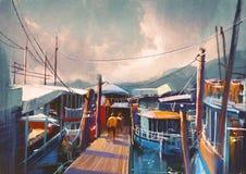 Barcos de pesca no porto ilustração do vetor