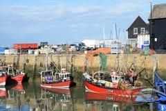 Barcos de pesca no porto de Whitstable fotografia de stock royalty free