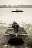Barcos de pesca no rio de Danúbio Fotos de Stock