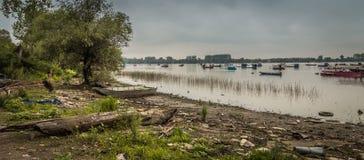 Barcos de pesca pequenos com cisnes e patos, efeito de HDR imagens de stock royalty free