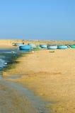 Barcos de pesca redondos na praia em Vietname Imagem de Stock