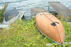 Barcos de pesca rusos viejos Foto de archivo libre de regalías