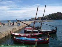 Barcos de pesca tradicionales en Collioure, Francia fotos de archivo libres de regalías