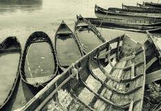 Barcos de pesca velhos em Jurilovca Fotografia de Stock Royalty Free
