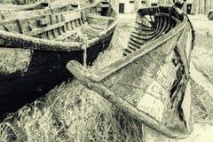 Barcos de pesca viejos en Jurilovca Fotografía de archivo libre de regalías