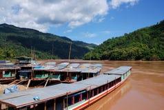 Barcos de rio de Mekong Fotos de Stock