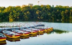 Barcos de rowing del placer amarrados en el embarcadero Fotografía de archivo libre de regalías