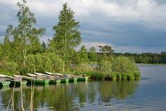 Barcos de rowing en un lago con los abedules Foto de archivo libre de regalías
