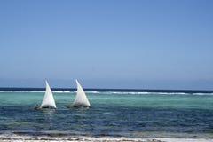 Barcos de vela de Zanzibar imagem de stock