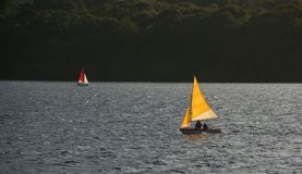 Barcos de vela en el lago Fotos de archivo libres de regalías