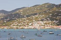 Barcos de vela en la bahía de St. Thomas Imagen de archivo