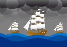 Barcos de vela en tormenta stock de ilustración