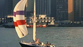 Barcos de vela de Hong Kong video estoque