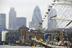 Barcos decorados com bandeiras Fotografia de Stock