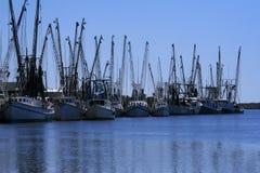 Barcos del camarón atracados Fotografía de archivo libre de regalías