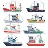 Barcos del océano de la pesca Barcos rastreadores comerciales, naves mar del pescador y sistema aislado buques del vector del río libre illustration