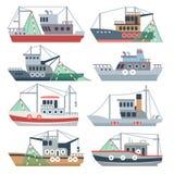 Barcos del océano de la pesca Sistema aislado naves comerciales del vector del pescador ilustración del vector