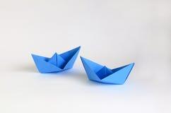 Barcos del papel azul Fotografía de archivo libre de regalías