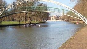 Barcos del puente del río de Bedford Eights de Sculling almacen de video