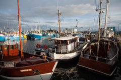 Barcos del ` s del pescador en el puerto de awowo del 'del adysÅ del 'de WÅ Foto de archivo libre de regalías