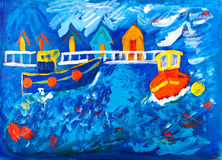 Barcos del tirón en la pintura de acrílico del mar Fotos de archivo