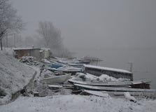 Barcos do inverno foto de stock royalty free