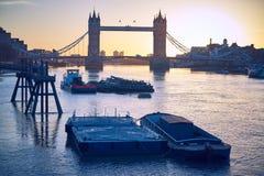 Barcos e azul de Londres Fotos de Stock Royalty Free