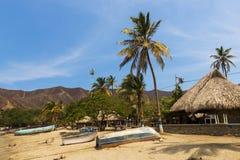 Barcos e palmeiras na praia pela vila de Taganga na costa das caraíbas de Colômbia Fotos de Stock