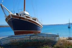 Barcos em Paros, Greece Fotografia de Stock