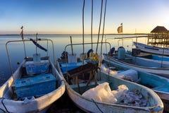 Barcos em Rio Lagartos fotografia de stock royalty free