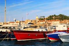 Barcos em St.Tropez Fotos de Stock