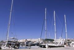 Barcos em Tunísia portuária fotografia de stock
