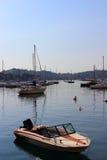 Barcos em Villefranche imagens de stock