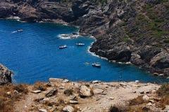Barcos en Cap de Creus, Girona Fotos de archivo libres de regalías