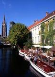 Barcos en el canal, Brujas Foto de archivo libre de regalías