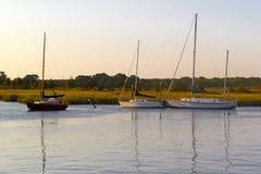 Barcos en el crepúsculo Fotografía de archivo